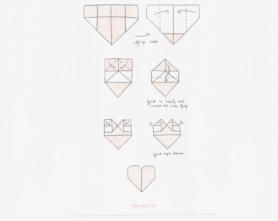 how to make origami hearts diagram  u0026 instructions