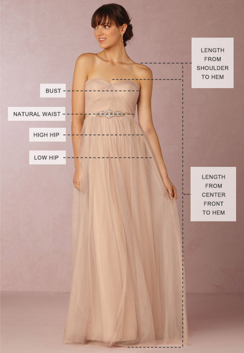 Wedding dress size measurement chart bhldn for Wedding dress size guide