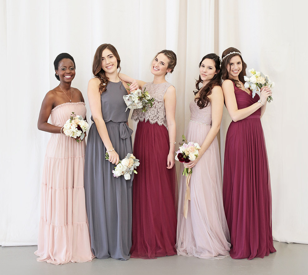 unique mix and match bridesmaid dresses bhldn