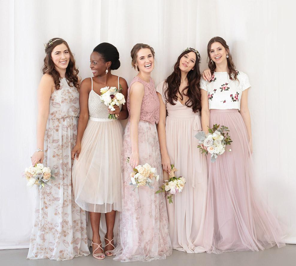 Unique mix and match bridesmaid dresses bhldn mixed colors textures ombrellifo Images