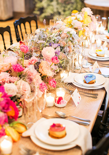 Colorful table settings for the guests.