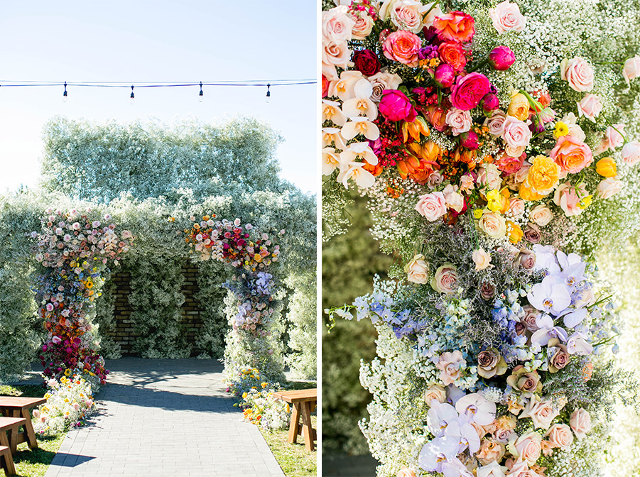 The finished archway of baby's breath and colorful roses.