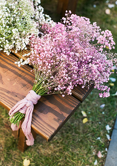 Bridesmaid bouqet of  lilac-colored baby's breath.