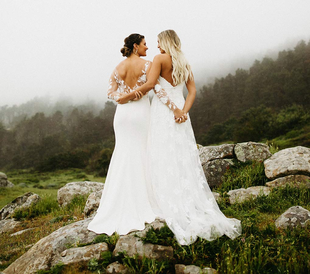 Two Brides hold each other's arms as they stand before a misty forest landscape.