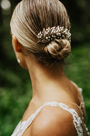 Bride wears the Love Spell Comb in her hair.