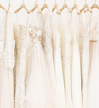 350db20d9c A rack of gowns displays a diverse array of styles to choose from at a BHLDN