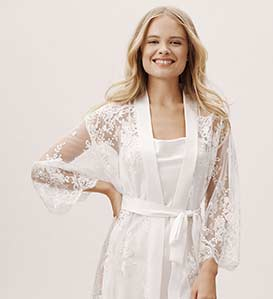 A sheer and floral lace robe for a bride's lingerie closet.