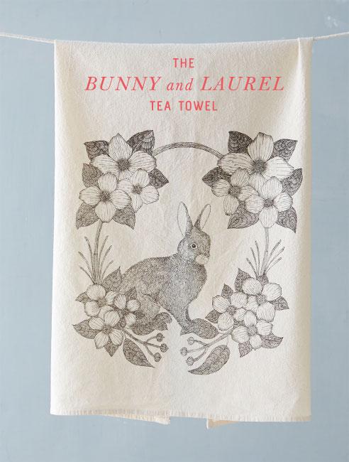 The Bunny & Laurel Tea Towel