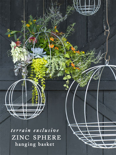 shop the zinc sphere hanging basket