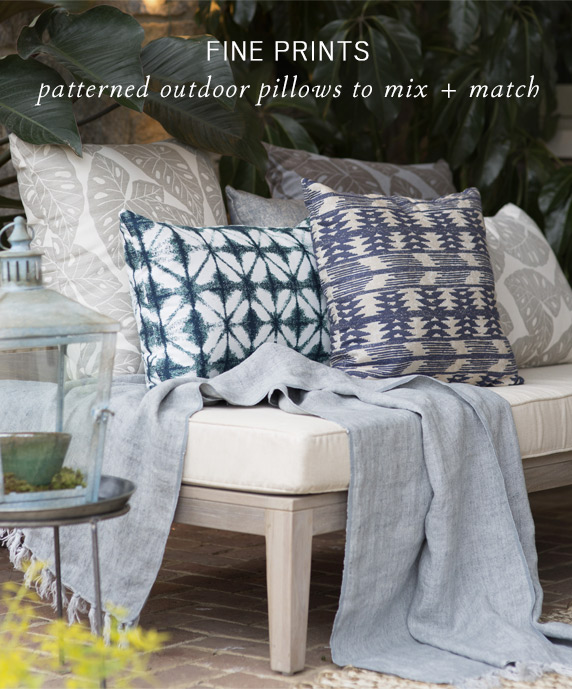 Fine Prints | patterened outdoor pillows to mix + match