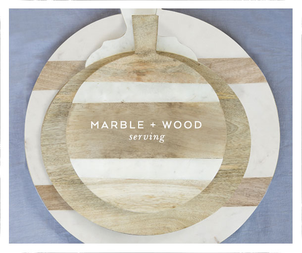 marble + wood serving