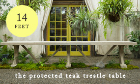 The Protected Teak Trestle Table | could we do badge with length? 14'