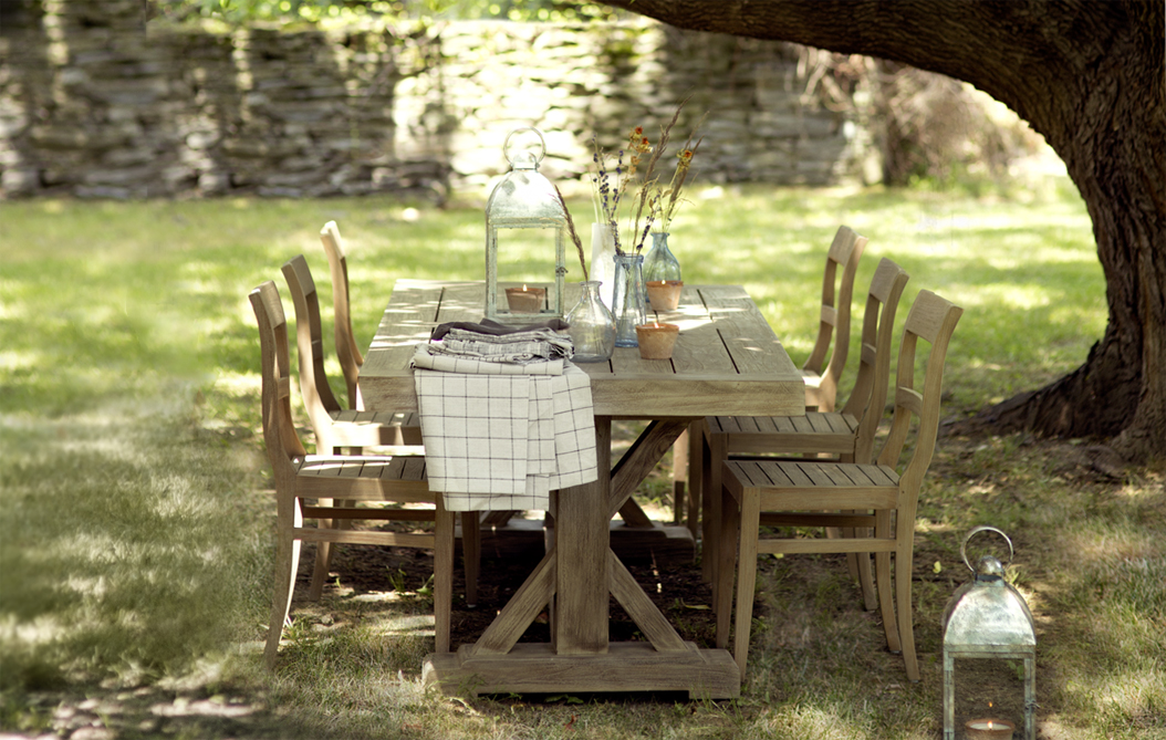 Backyard Dinner | our classic, protected teak tables + chairs to host meals outdoors