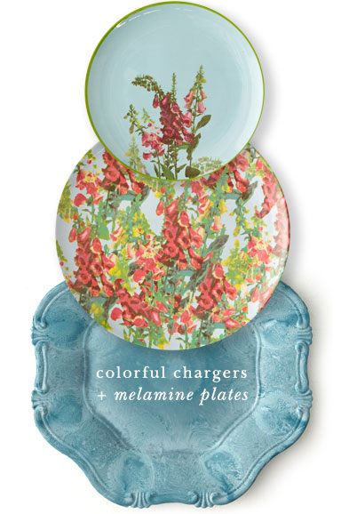 colorful chargers and melamine plates