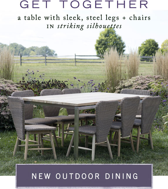 Get Together | a table with sleek, steel legs + chairs in striking silhouettes | new outdoor dining