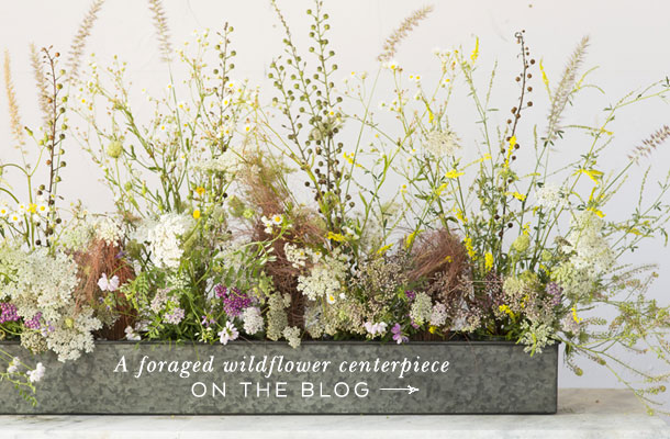 A foraged wildflower centerpiece | on the blog