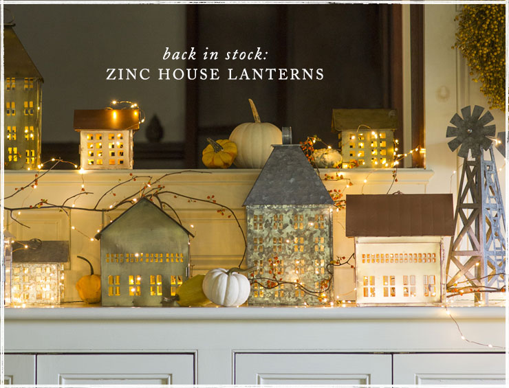 Back in stock: zinc house lanterns